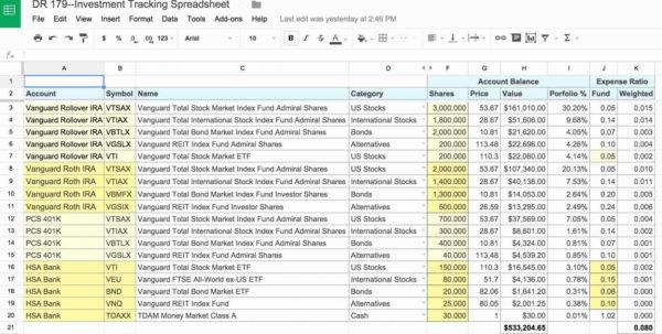 Stock Portfolio Tracking Spreadsheet With Investment Tracking Spreadsheet Excel Along With Awesome Stock
