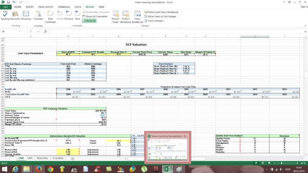 Stock Valuation Spreadsheet For Free Value Investing Stock Spreadsheet