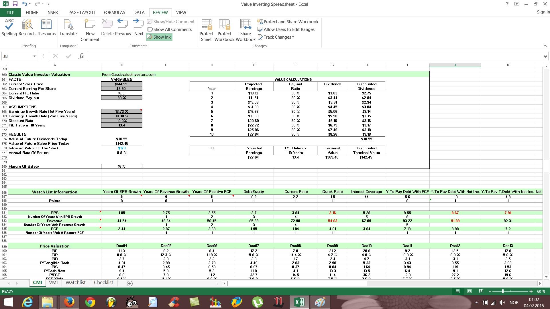 Stock Valuation Spreadsheet Regarding Free Value Investing Stock Spreadsheet