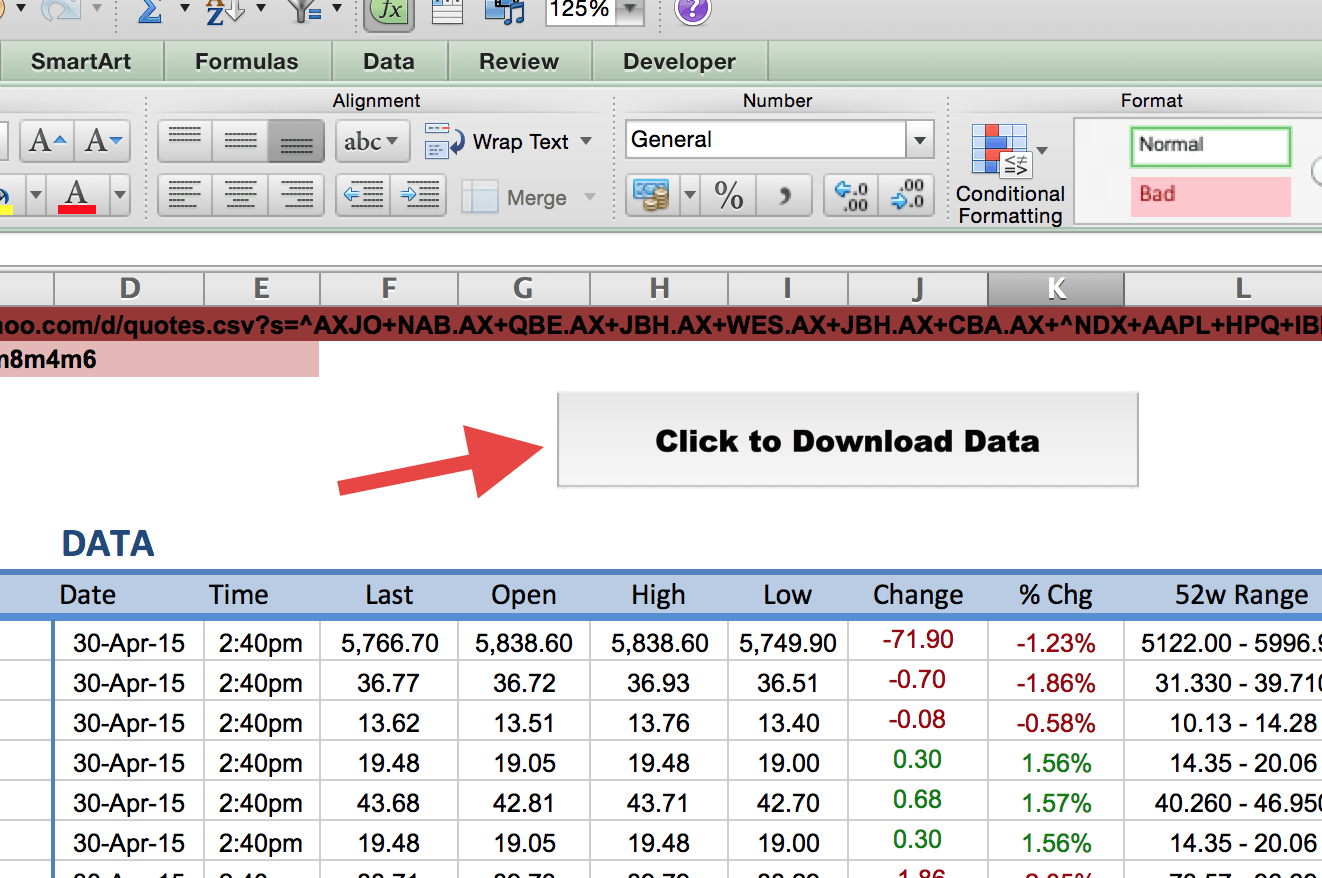 Stock Valuation Spreadsheet With Regard To How To Import Share Price Data Into Excel  Market Index