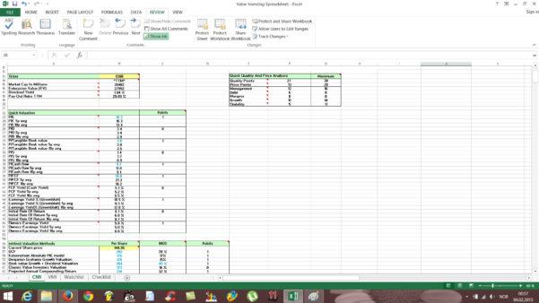 Stock Watch List Spreadsheet For Free Value Investing Stock Spreadsheet