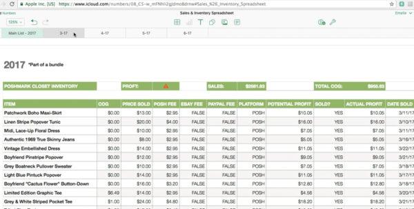 Street Sign Inventory Spreadsheet In Poshmark/ebay Sales  Inventory Spreadsheet Tutorial On Vimeo