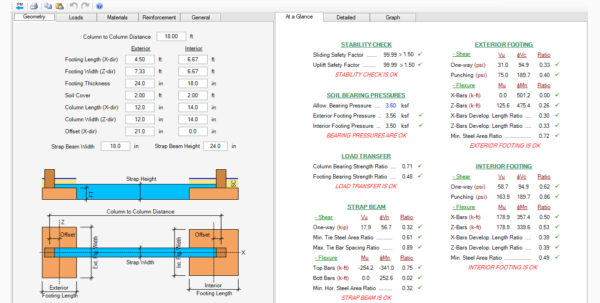 Strip Footing Design Spreadsheet In Spread, Combined, Strap Footing Design Software  Asdip Foundation