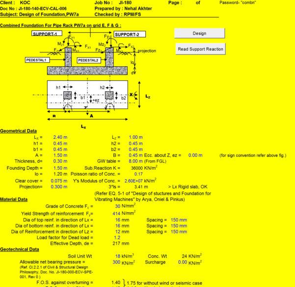 Strip Footing Design Spreadsheet Inside Combined Foundation Design Calculation Spreadsheet  Civil
