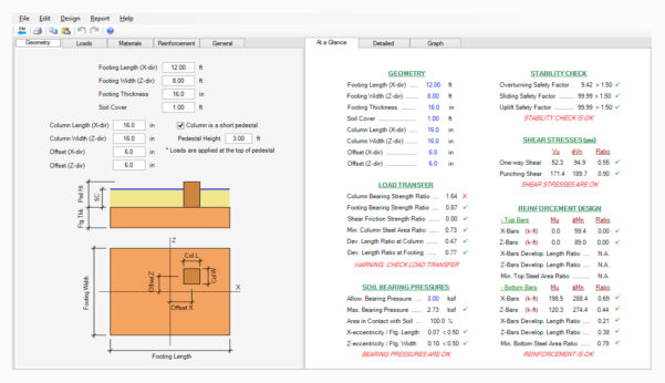 Strip Footing Design Spreadsheet Throughout Spread, Combined, Strap Footing Design Software  Asdip Foundation