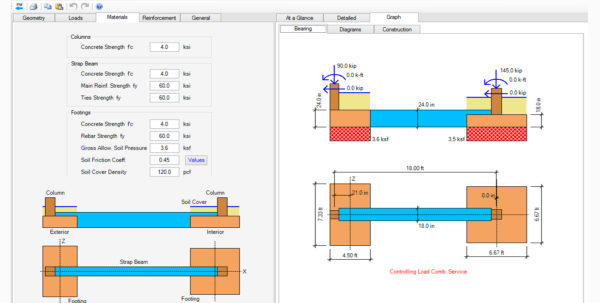 Strip Footing Design Spreadsheet With Regard To Spread, Combined, Strap Footing Design Software  Asdip Foundation