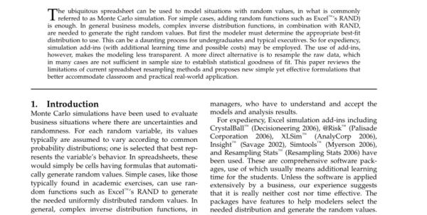 Strong Curves Spreadsheet Regarding Pdf Monte Carlo Spreadsheet Simulation Using Resampling