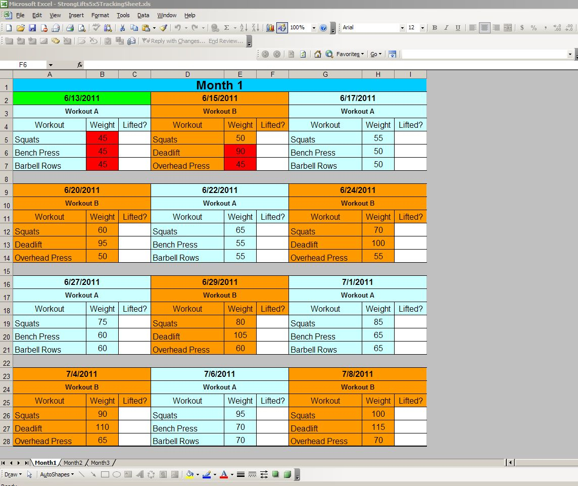 Stronglifts 5X5 Spreadsheet Within I Put Together My Own Tracking Sheet For Sl 5X5 In Excel, And Am