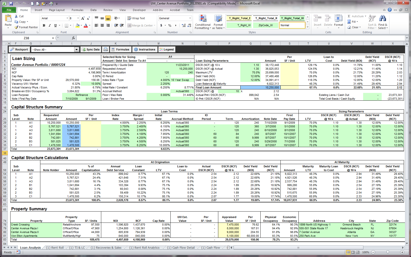 Structural Analysis Excel Spreadsheet Intended For Excel Underwriting  Rockport Cre Lending System