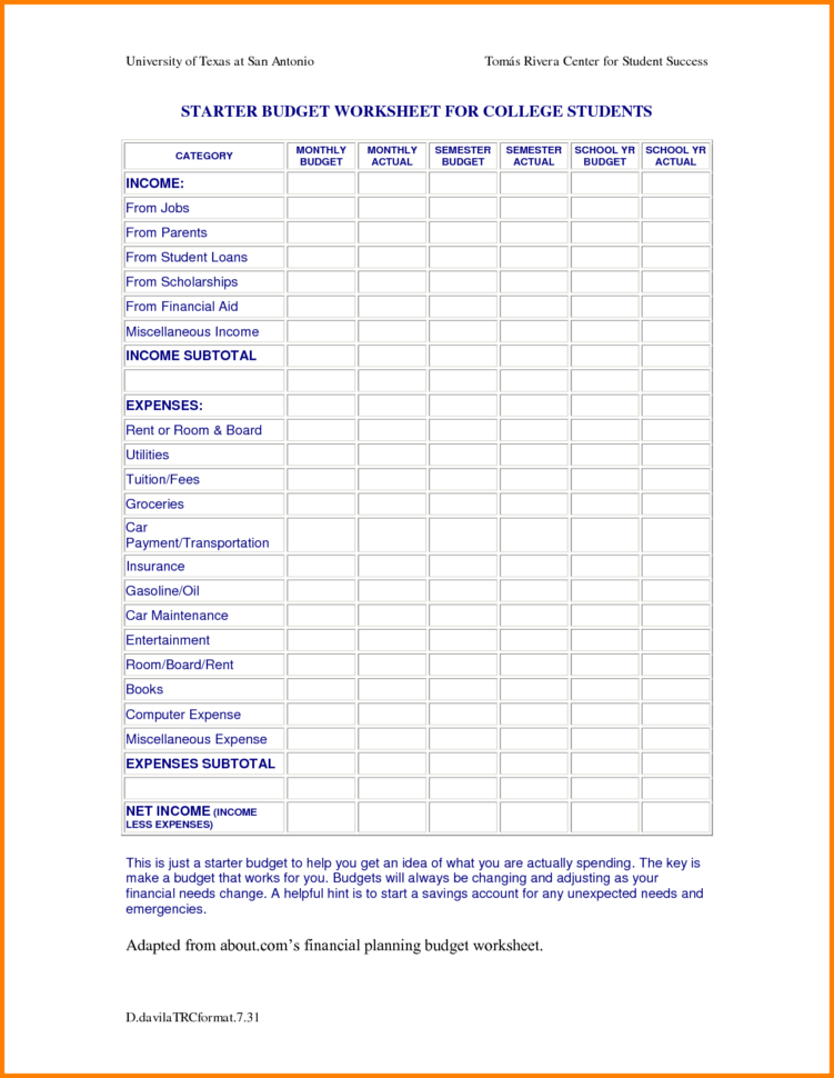 Student Budget Planner Spreadsheet Throughout Student Loan Budget Template With Simple College Plus Spreadsheet