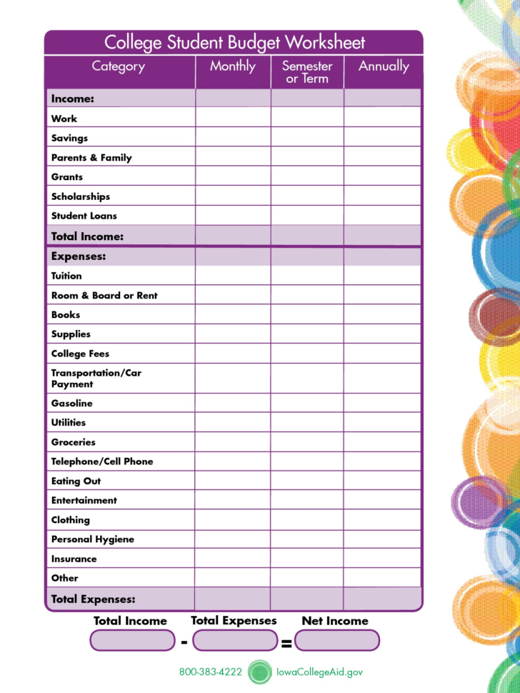 Student Budget Planner Spreadsheet With Regard To College Student Budget Spreadsheet Worksheet For University Template