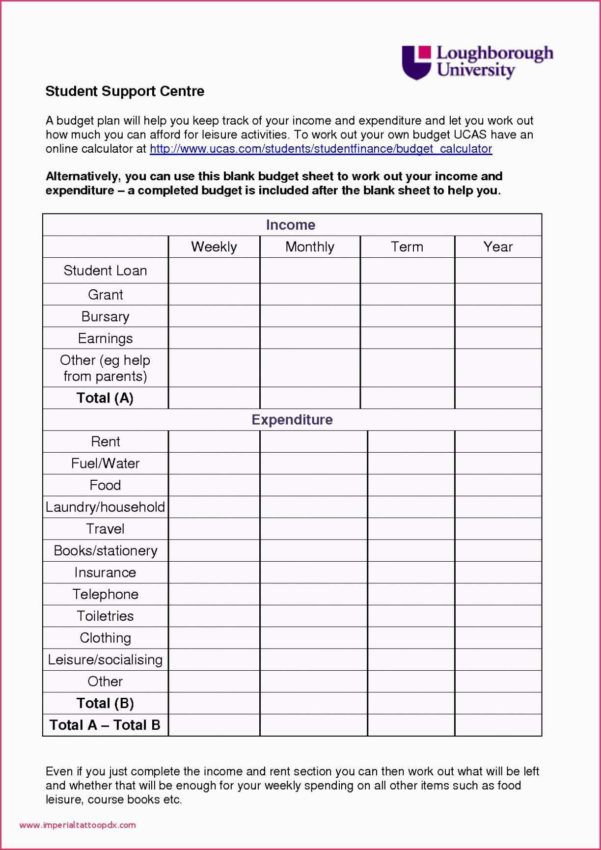 Student Budget Spreadsheet Intended For Student Budget Spreadsheet Simple College Template Weekly Example