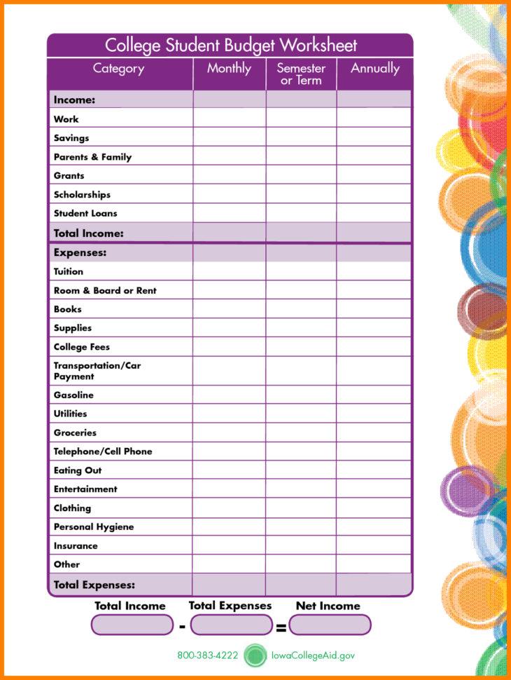 Student Expenses Spreadsheet Inside Budget Worksheet For Students – Emmamcintyrephotography