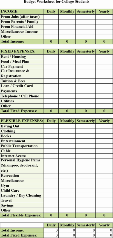 Student Expenses Spreadsheet Intended For Spreadsheet Example Of College Student Budget Template Awesome Basic