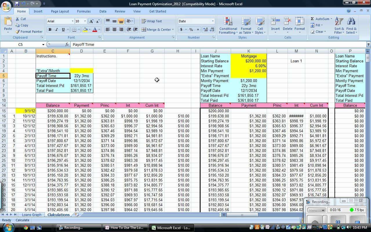 Student Loan Payoff Spreadsheet Within Student Loan Excel Spreadsheet  Samplebusinessresume