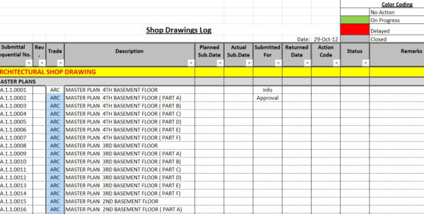 Submission Tracking Spreadsheet Throughout How To Create A Shop Drawings Log With Sample File