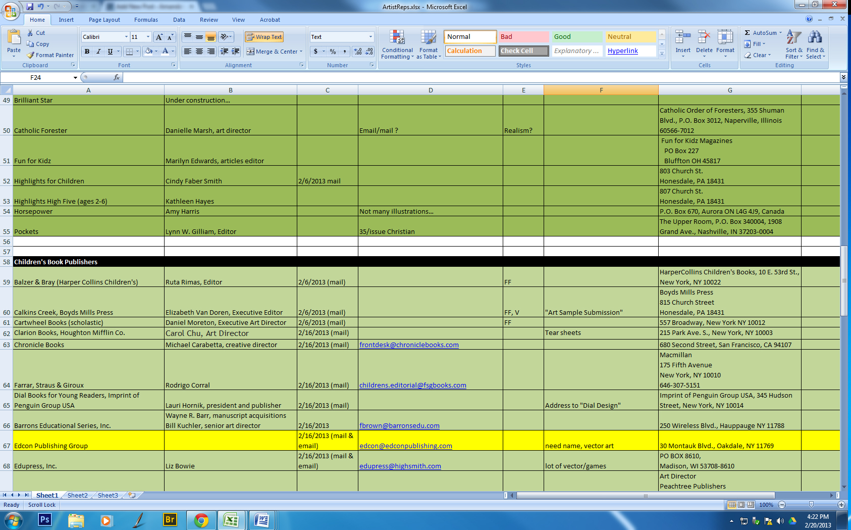 Submission Tracking Spreadsheet With Amanda's Creative Studios  What Every Illustrator Should Know About