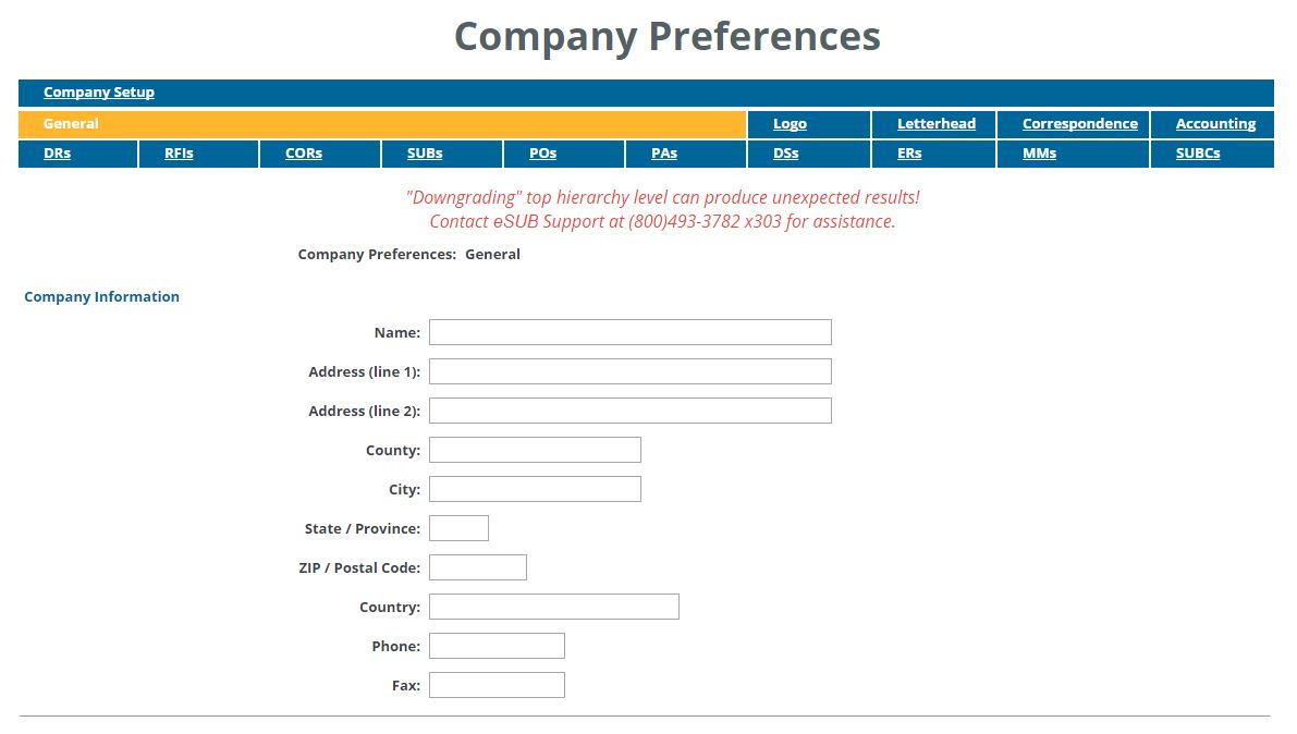 Submittal Log Spreadsheet Intended For Company Preferences – Esub Academy  Esub Construction Software Help