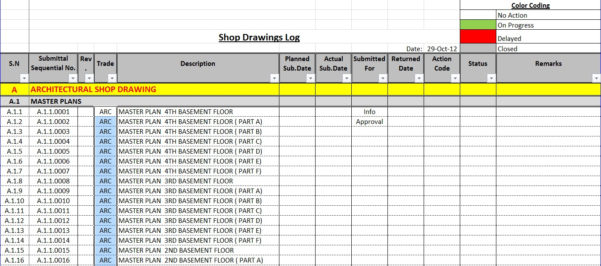 Submittal Log Spreadsheet Intended For How To Create A Shop Drawings Log With Sample File