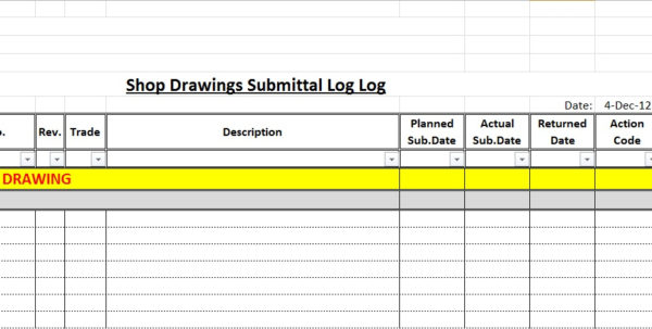 Submittal Tracking Spreadsheet Pertaining To How To Create A Shop Drawings Log With Sample File