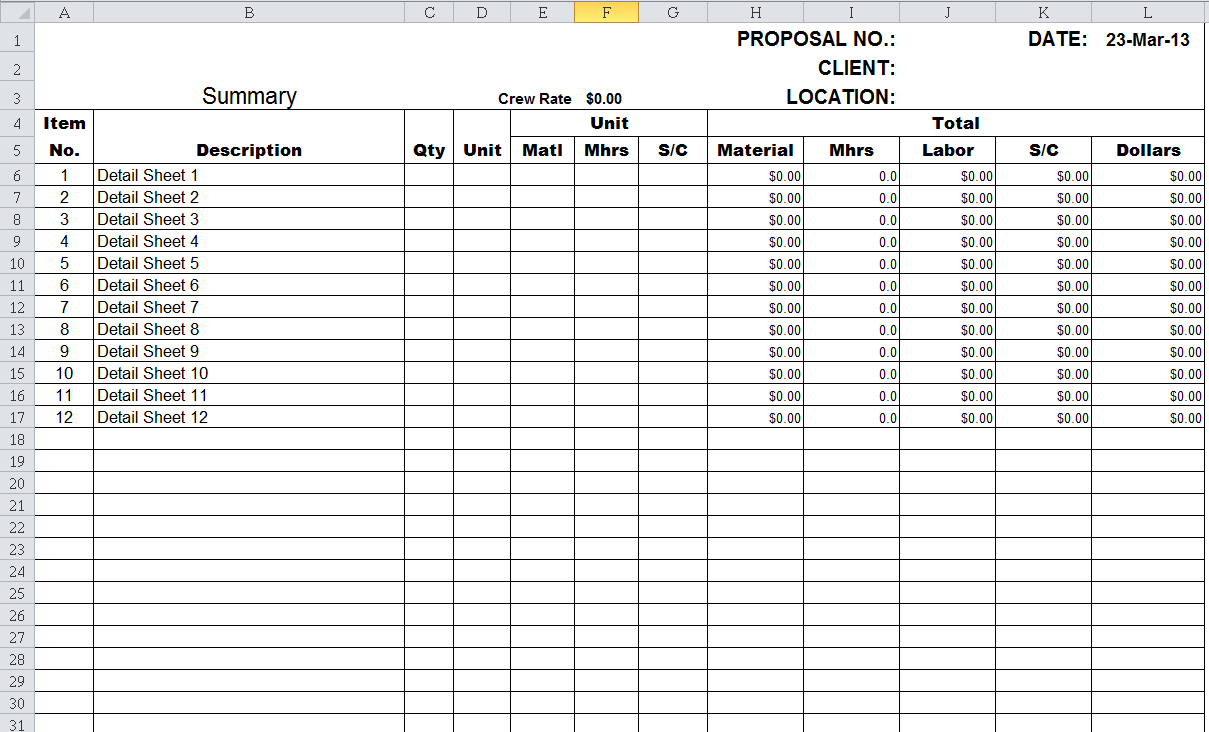 Submittal Tracking Spreadsheet Regarding Construction Cost Estimate Template Excel  Homebiz4U2Profit