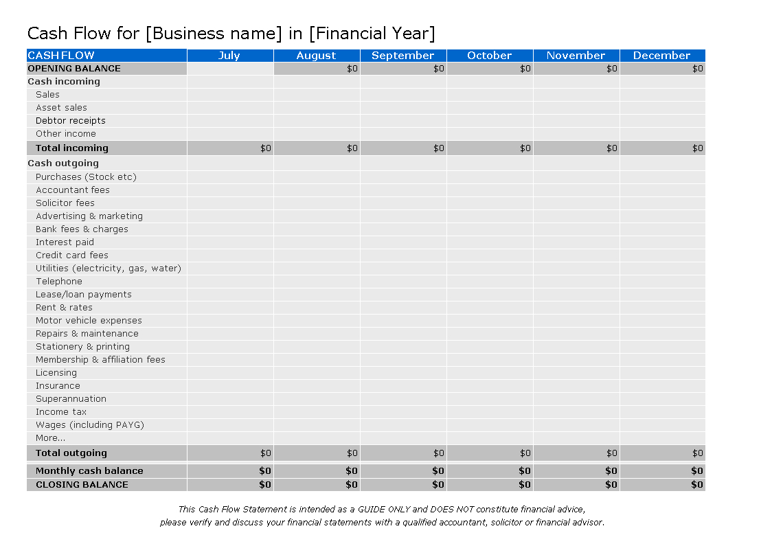 Superannuation Spreadsheet Template Intended For Free Business Cash Flow Analysis  Templates At Allbusinesstemplates