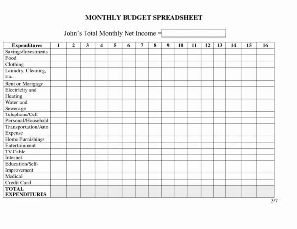 Sweet 16 Budget Spreadsheet Throughout Sample Home Budget Worksheet Ishtarairlinescom Spreadsheet Template