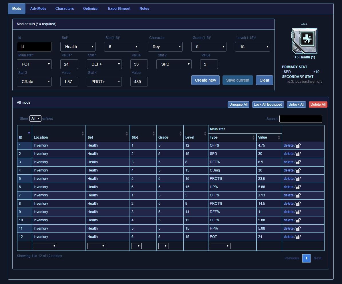 Swgoh Gear Spreadsheet Regarding Open Beta Mod Database  Optimizer   Mod Guide — Star Wars Galaxy