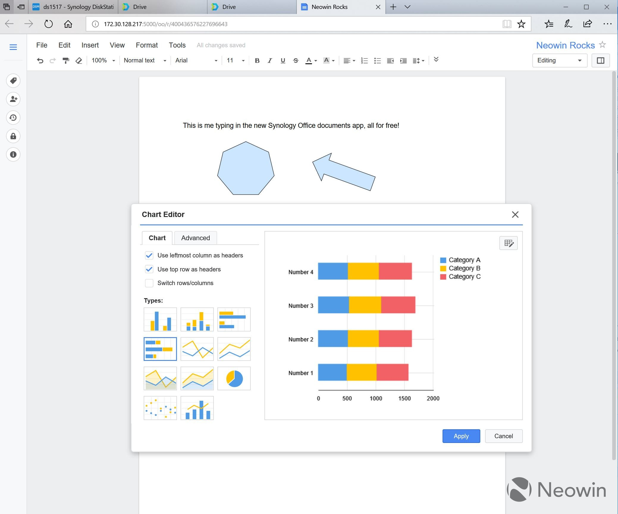 Synology Spreadsheet For Review Of Three New Synology Applications: Drive, Moments, And