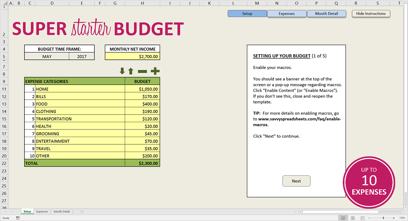 Tab Spreadsheet In Free Budget Template For Excel  Savvy Spreadsheets