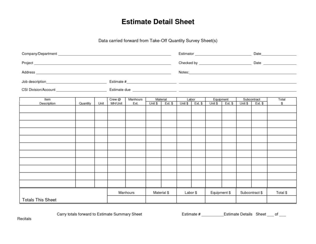 Take Off Spreadsheet With Sample Construction Estimate Form And Carried Forward From Takeoff