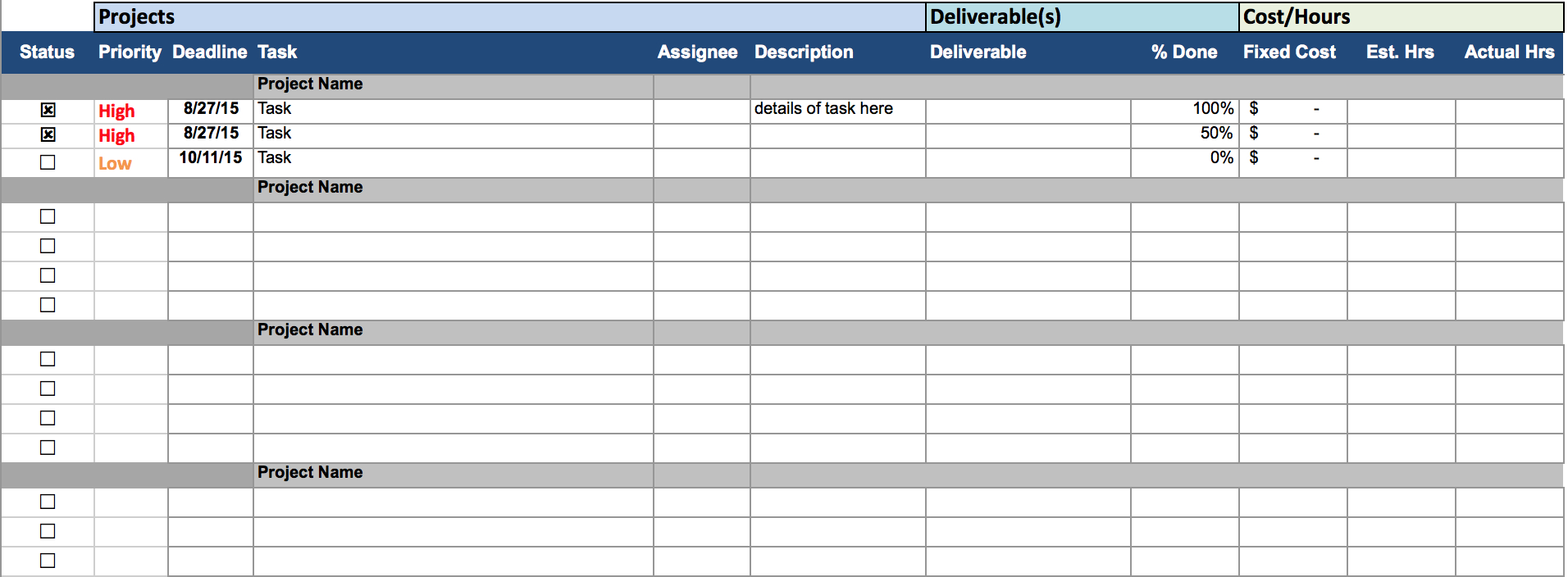 Task Manager Excel Spreadsheet for Project Management Excel Spreadsheets Timeline Sheet Time Tracking