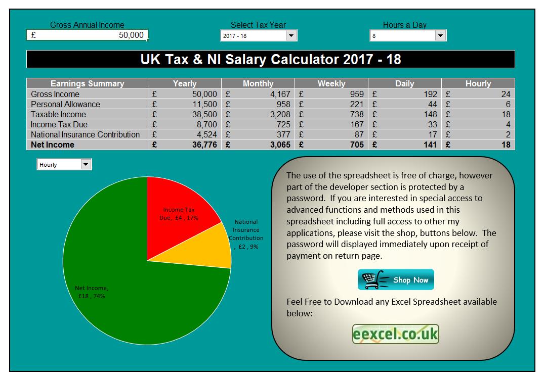 Tax Calculator Excel Spreadsheet In Uk Salary Calculator Template Spreadsheet  Eexcel Ltd