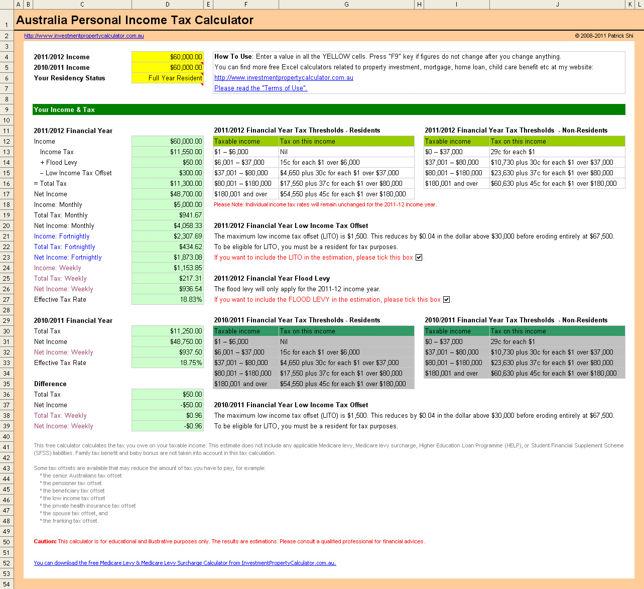 Tax Spreadsheet Australia Pertaining To Free Australia Personal Income Tax Calculator In Excel