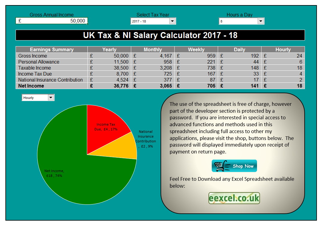 Tax Spreadsheet Uk Within Uk Salary Calculator Template Spreadsheet  Eexcel Ltd