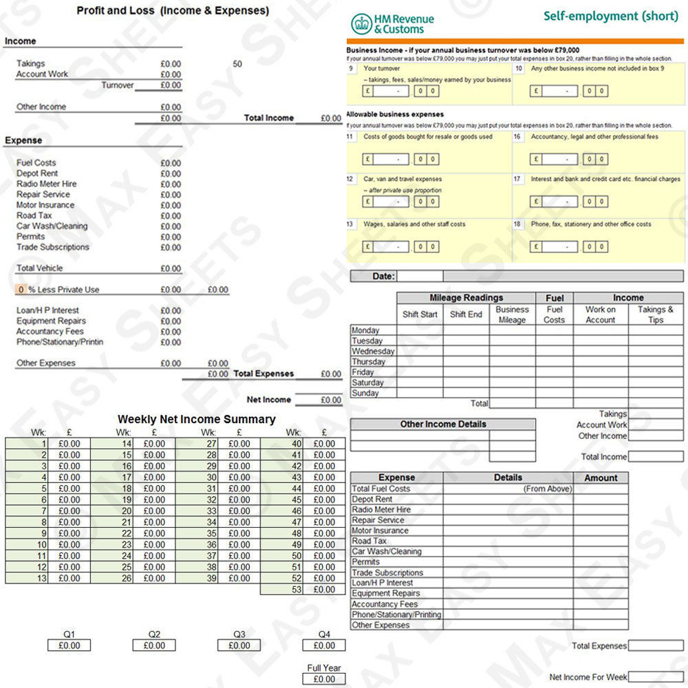 Taxi Spreadsheet Intended For Cab Taxi Driver Log Book Record Daily Weekly Accounting Bookkeeping