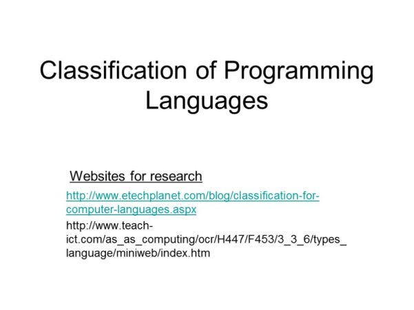 Teach Ict Spreadsheet Games With Classification Of Programming Languages Http: //www. Etechplanet