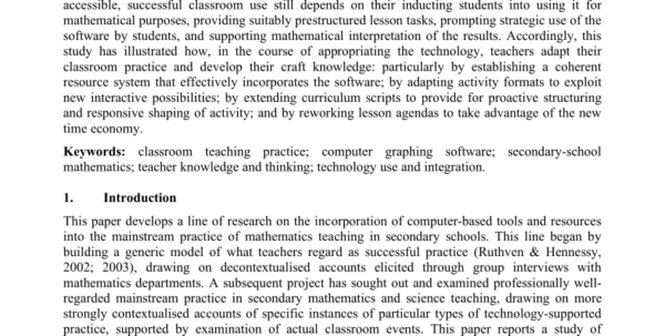Teach Ict Spreadsheets Intended For Pdf Successful Ict Use In Secondary Mathematicsa Teacher Perspective
