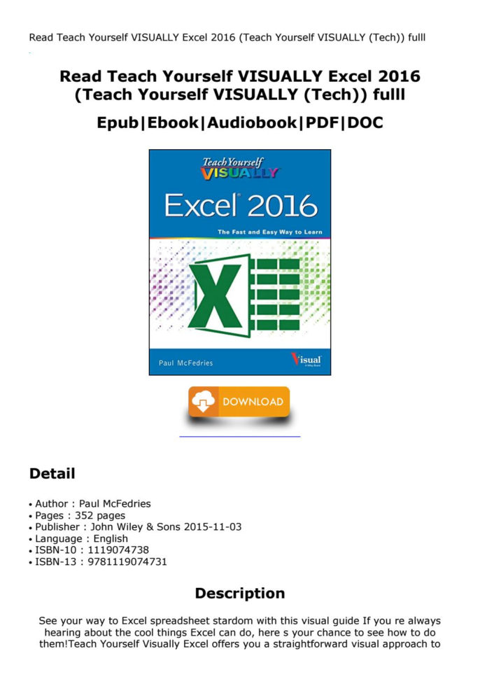 Teach Yourself Excel Spreadsheets Pertaining To Teach Yourself Visually Excel 2016 Teach Yourself Visually Tech