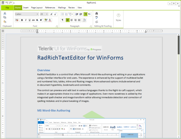 Telerik Web Spreadsheet With Regard To Overview  Radrichtexteditor  Telerik Ui For Winforms