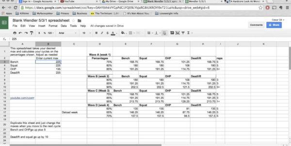 Texas Method Powerlifting Spreadsheet Pertaining To Sheet Powerlifting Spreadsheet Maxresdefault Wendler Explained Free