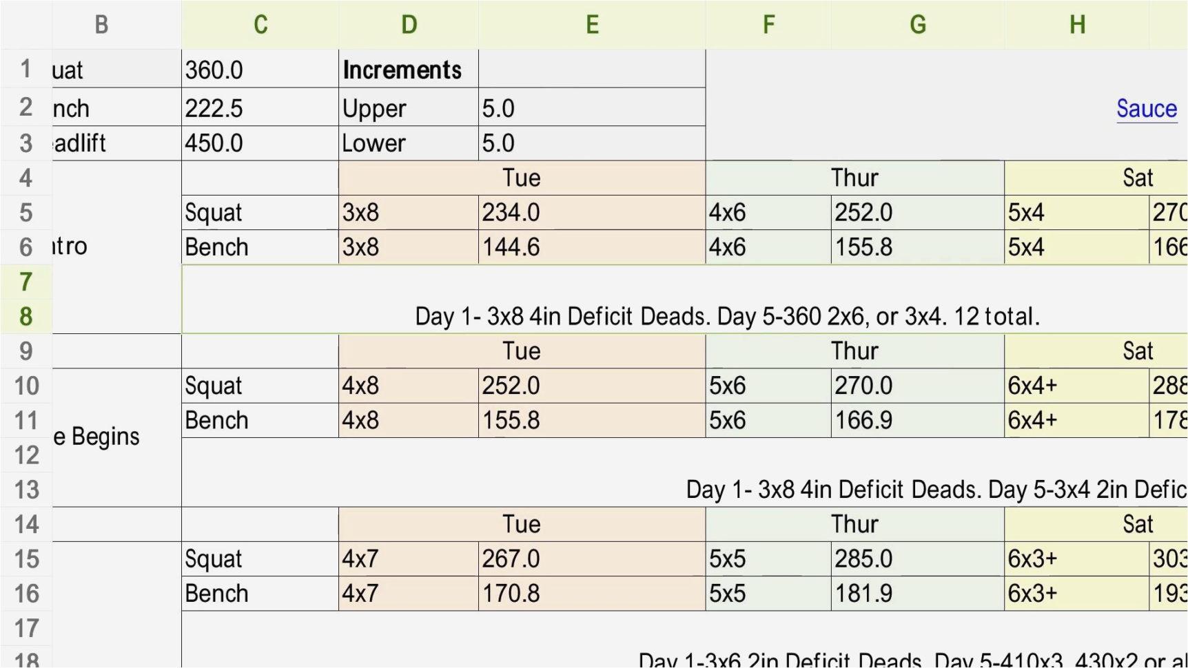Texas Method Powerlifting Spreadsheet Within Powerlifting Program Spreadsheet Beginner Sheiko Calculator Dup
