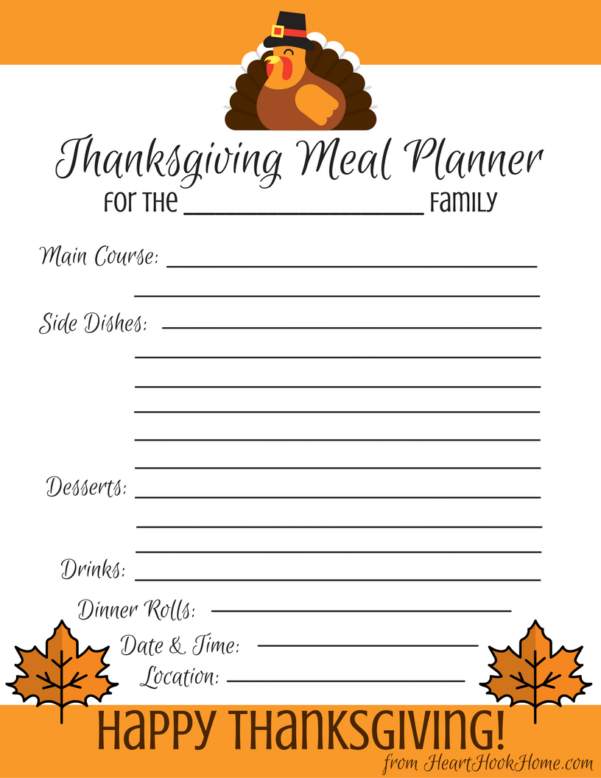 Thanksgiving Dinner Spreadsheet Within Thanksgiving Meal Planner  Free Printable Download