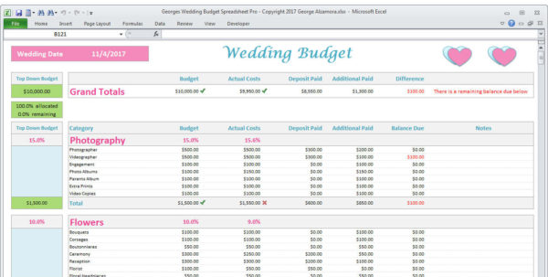 The Budget Kit Excel Spreadsheets Intended For Wedding Planner Budget Template Excel Spreadsheet Wedding  Etsy