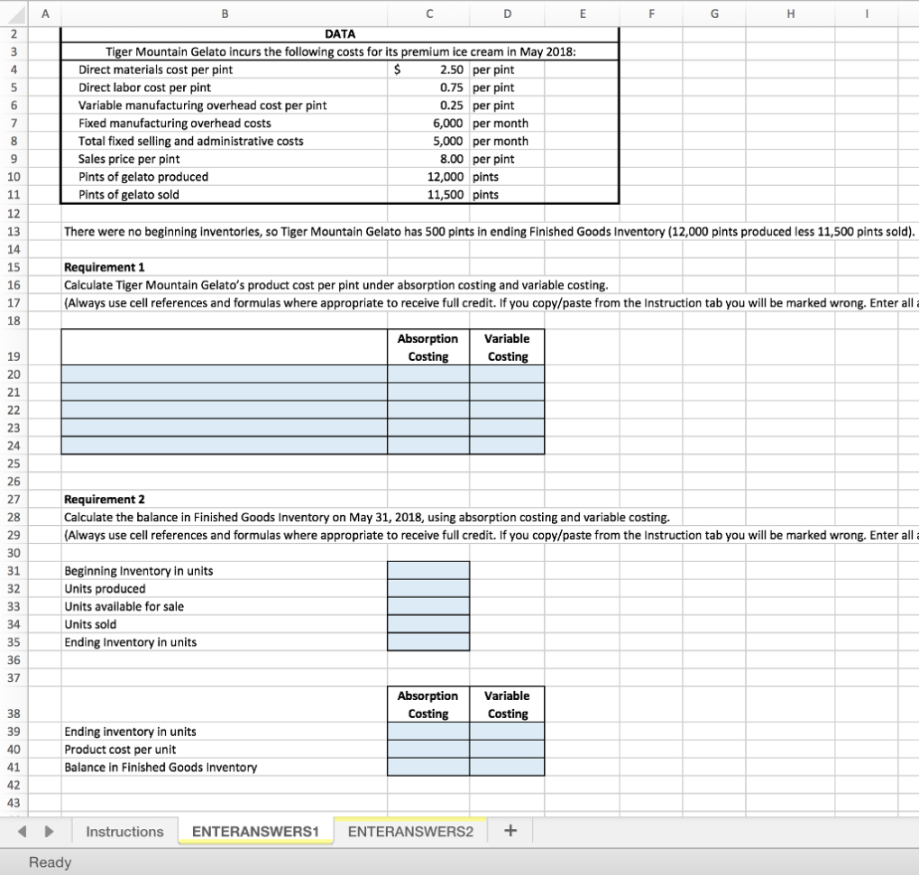 Tiger Spreadsheet Solutions With Solved: A B 1 Variable Costing 2 Using Excel For Variable