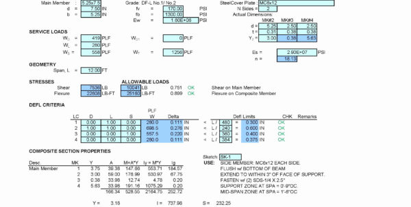 Timber Beam Design Spreadsheet Pertaining To Flitch Beam Design Spreadsheet  My Spreadsheet Templates