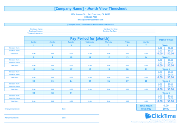 Time Card Spreadsheet Excel For Free Monthly Timesheet Template  Clicktime