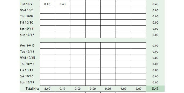 Time Card Spreadsheet Excel With Regard To 40 Free Timesheet / Time Card Templates  Template Lab