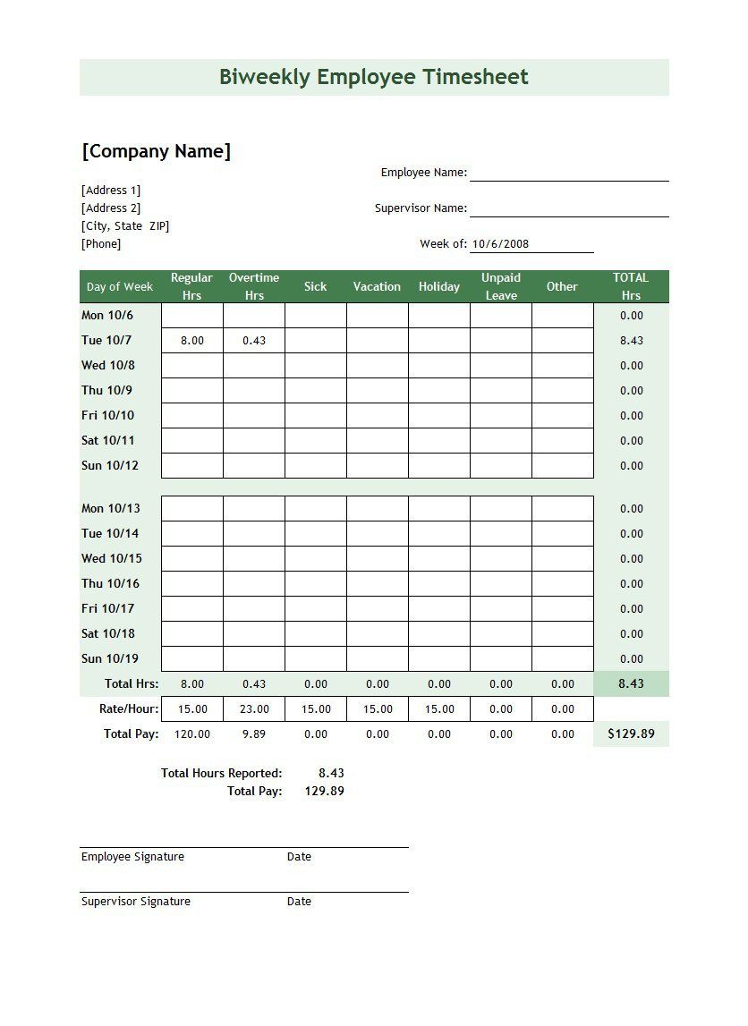 Time Card Spreadsheet Template Free Pertaining To 40 Free Timesheet / Time Card Templates  Template Lab