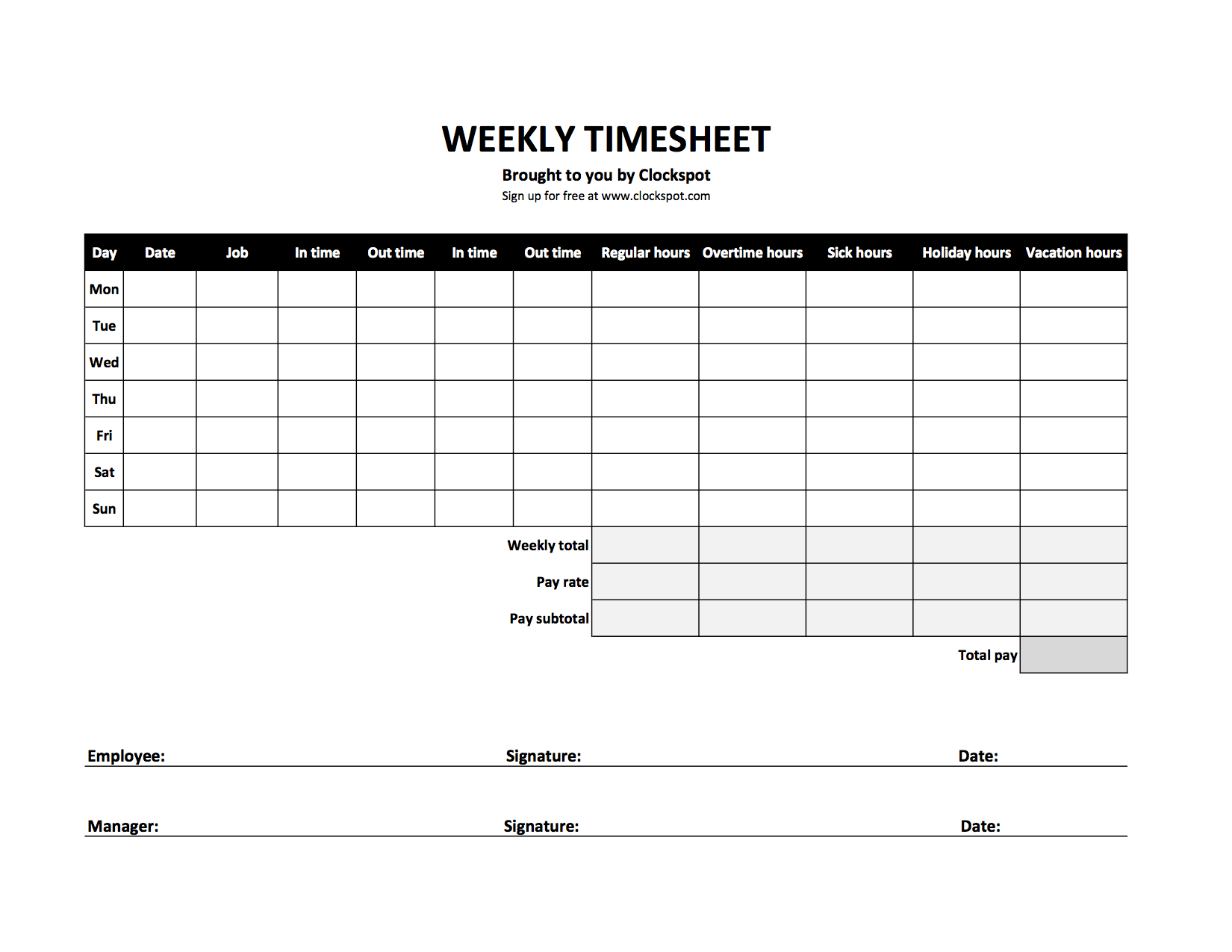 Time Card Spreadsheet Template Free Throughout Free Time Tracking Spreadsheets  Excel Timesheet Templates